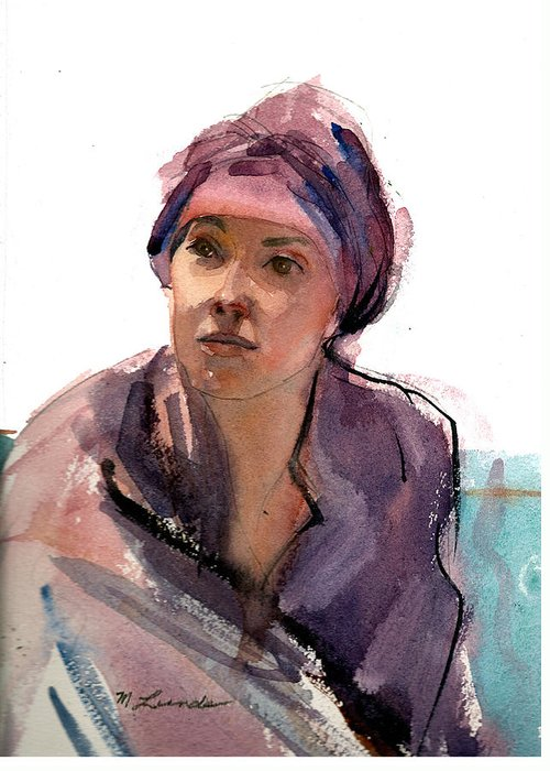 Watercolor Portrait Greeting Card featuring the painting Jocelyn by Mark Lunde