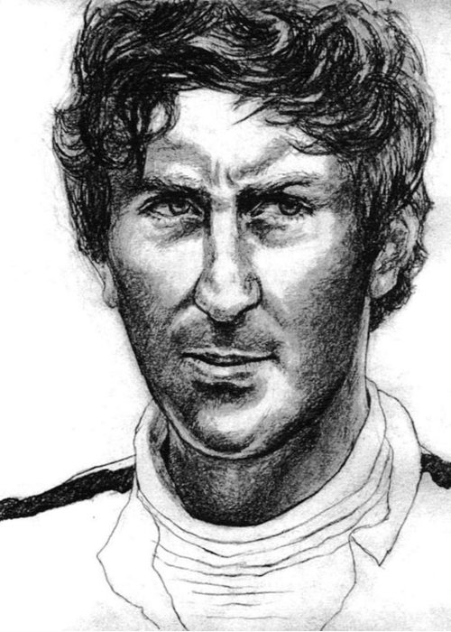 Portrait Of Formula 1 Car Racing Champion Greeting Card featuring the drawing Jochen Rindt by Diane Fine