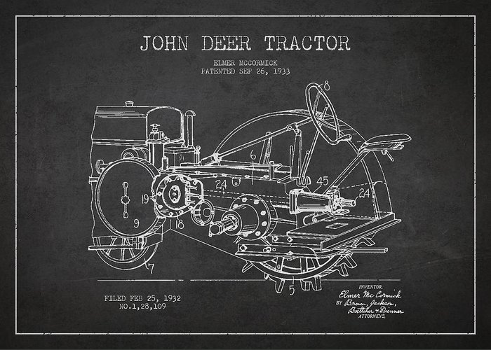 Tractor Greeting Card featuring the drawing John Deer Tractor Patent Drawing From 1933 by Aged Pixel