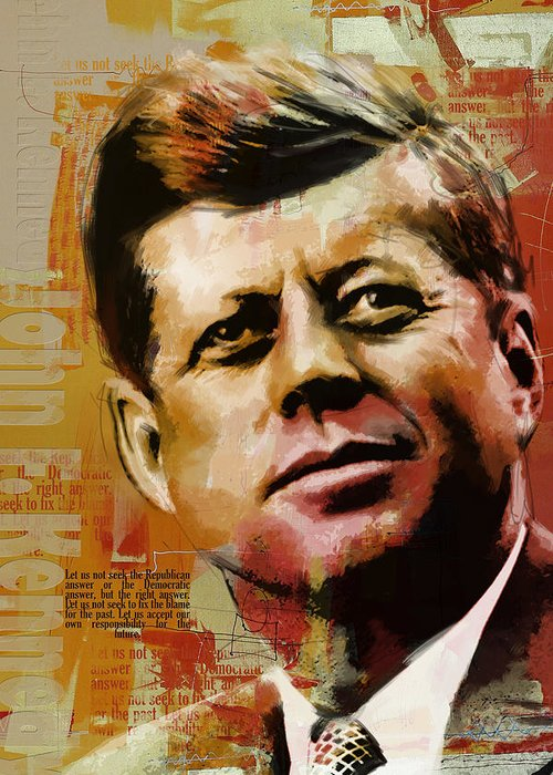 Jfk Greeting Card featuring the painting John F. Kennedy by Corporate Art Task Force