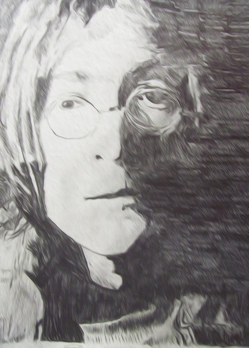 Miami Greeting Card featuring the drawing John Lennon Pencil by Jimi Bush