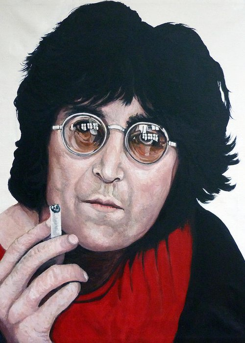 John Lennon Greeting Card featuring the painting John Lennon by Tom Roderick