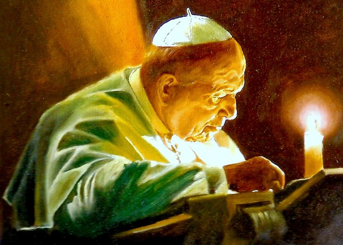 Henryk Greeting Card featuring the painting John Paul II by Henryk Gorecki
