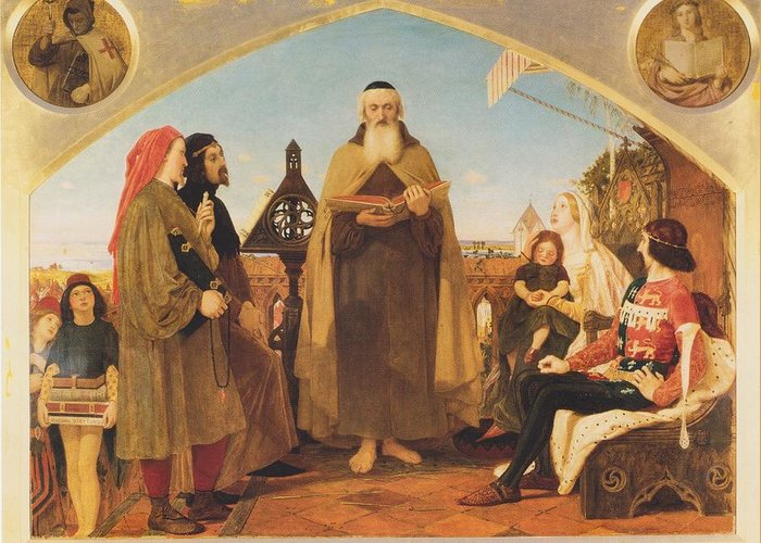 Ford Greeting Card featuring the painting John Wycliffe Reading His Translation Of The Bible To John Of Gaunt by Philip Ralley