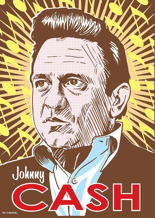 Outlaw Greeting Card featuring the digital art Johnny Cash Pop Art by Jim Zahniser
