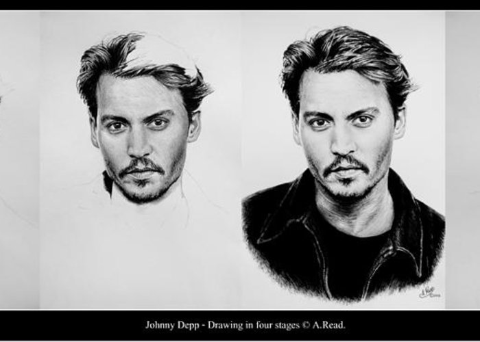 Johnny Depp Greeting Card featuring the drawing Johnny Depp 4 by Andrew Read