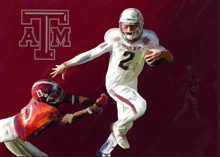 Johnny Manziel Greeting Card featuring the painting Johnny Football by GCannon