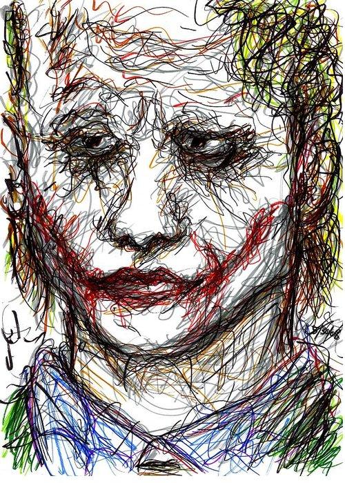 Joker Greeting Card featuring the drawing Joker - Interrogation by Rachel Scott