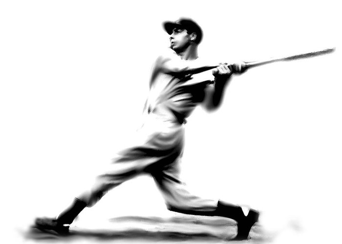 Joe Dimaggio 56 Game Hitting Streak Drawings Greeting Card featuring the painting Joltin Joe Dimaggio Joe Dimaggio by Iconic Images Art Gallery David Pucciarelli