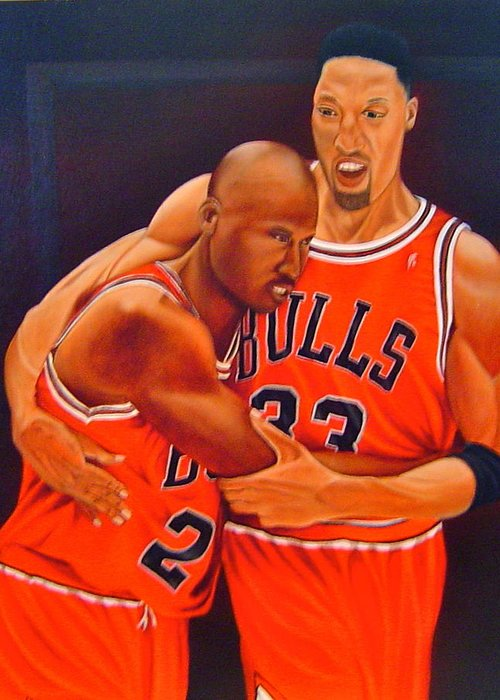 Michael Jordan Greeting Card featuring the painting Jordan And Pippen by Yechiel Abramov