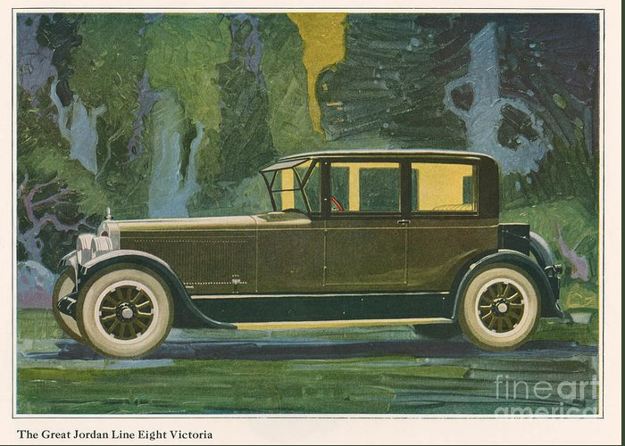 Adverts Greeting Card featuring the drawing Jordan Line Eight Victoria Car 1925 by The Advertising Archives