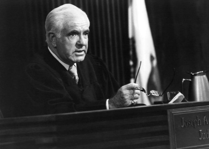 The People's Court Greeting Card featuring the photograph Joseph A. Wapner In The People's Court by Silver Screen