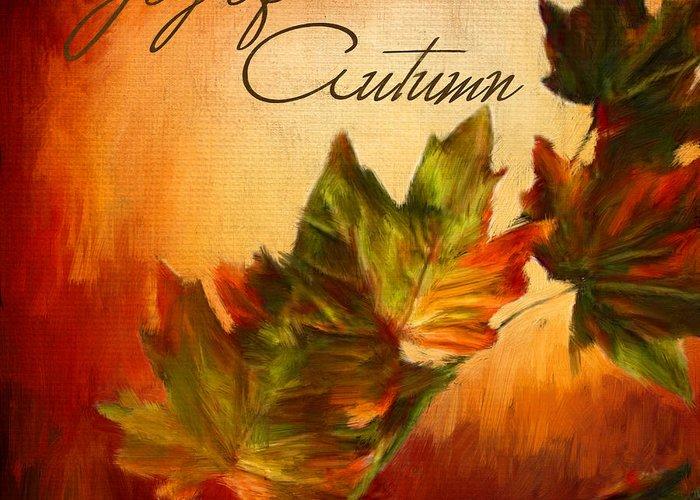 Four Seasons Greeting Card featuring the digital art Joy Of Autumn by Lourry Legarde