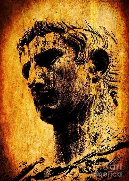 Julius Caesar Greeting Card featuring the painting Julius Caesar by Mike Grubb