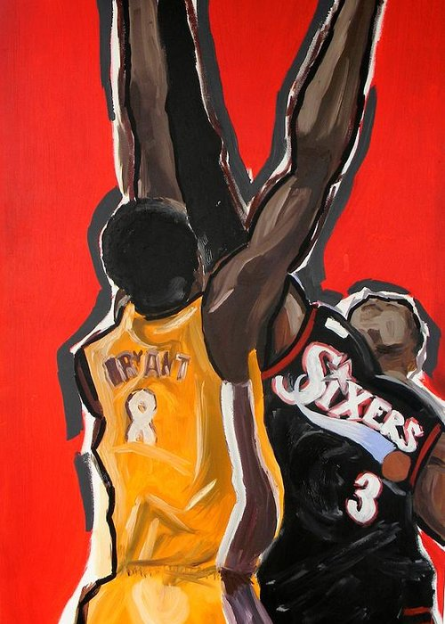 Basketball Greeting Card featuring the painting Jumpball by Patrick Ficklin