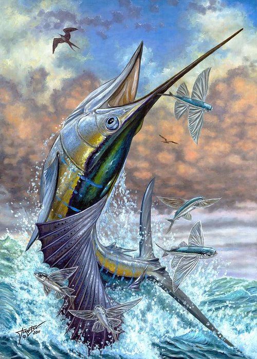 Flying Fishes Greeting Card featuring the painting Jumping Sailfish And Flying Fishes by Terry Fox