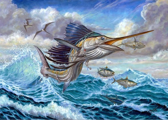 Sailfish Small Tuna Greeting Card featuring the painting Jumping Sailfish And Small Fish by Terry Fox