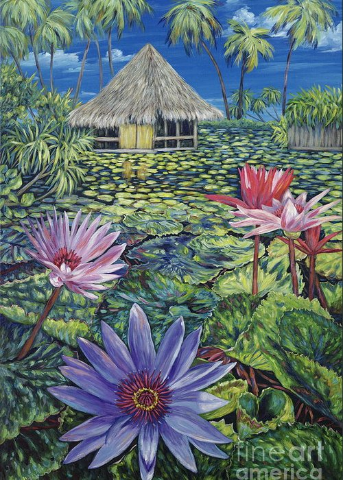 Tiki Hut Greeting Card featuring the painting Just A Dream by Danielle Perry