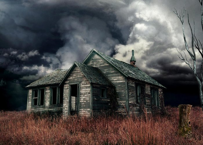 haunted House Greeting Card featuring the digital art Just Before The Storm by Aimelle