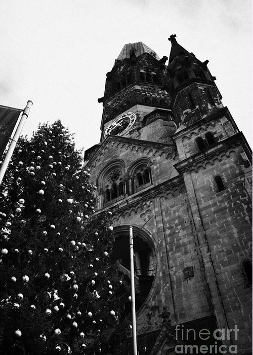 Berlin Greeting Card featuring the photograph Kaiser Wilhelm Gedachtniskirche Memorial Church And Christmas Tree Berlin Germany by Joe Fox