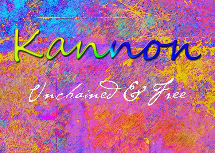 Chemiluminescence Greeting Card featuring the painting Kannon - Unchained And Free by Christopher Gaston