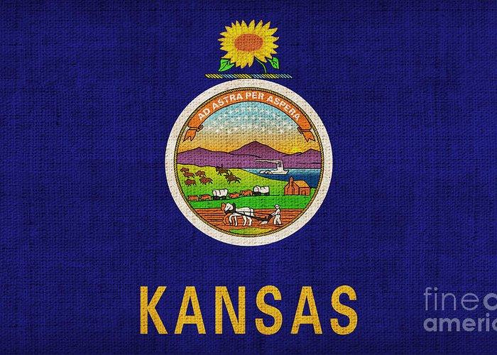 Kansas Greeting Card featuring the painting Kansas State Flag by Pixel Chimp