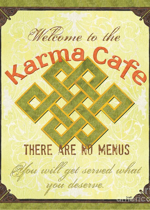 Karma Greeting Card featuring the painting Karma Cafe by Debbie DeWitt