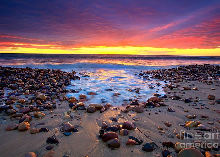 Sunset Pebbles Stones Beach Seascape Seascapes Karrara Hallett Cove Adelaide South Australia Australian Greeting Card featuring the photograph Karrara Sunset by Bill Robinson
