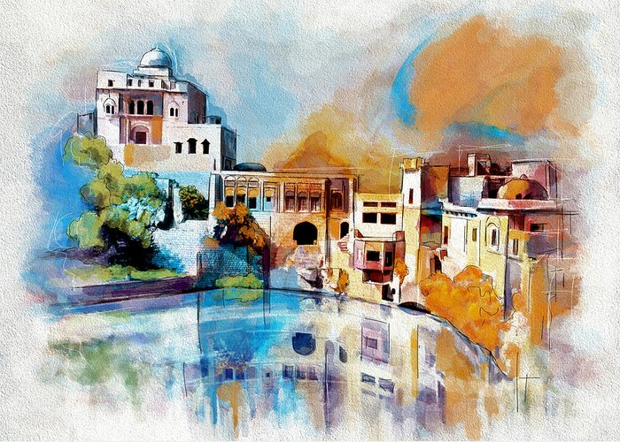 Pakistan Greeting Card featuring the painting Katas Raj Temple by Catf