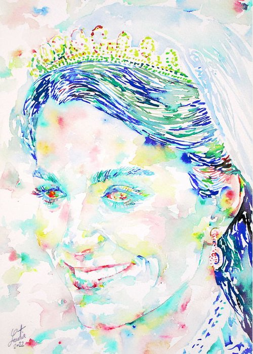 Kate Greeting Card featuring the painting Kate Middleton Portrait.2 by Fabrizio Cassetta