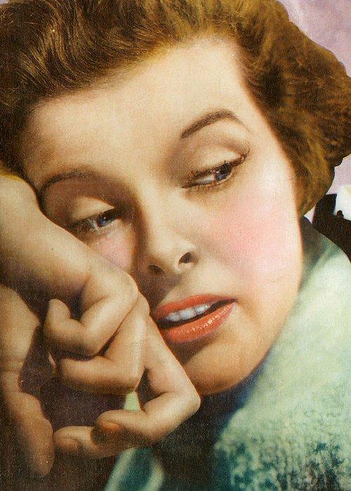 Kathryn Hepburn Greeting Card featuring the digital art Kathryn Hepburn by Studio Artist