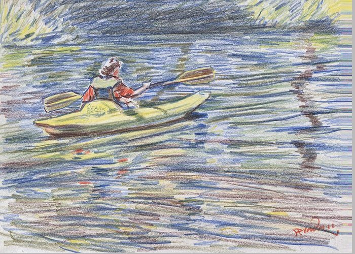 Water Greeting Card featuring the drawing Kayak In The Rapids by Horacio Prada