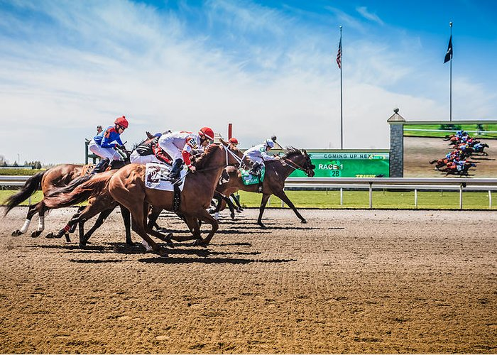 Keeneland Greeting Card featuring the photograph Keeneland Racing by Keith Allen