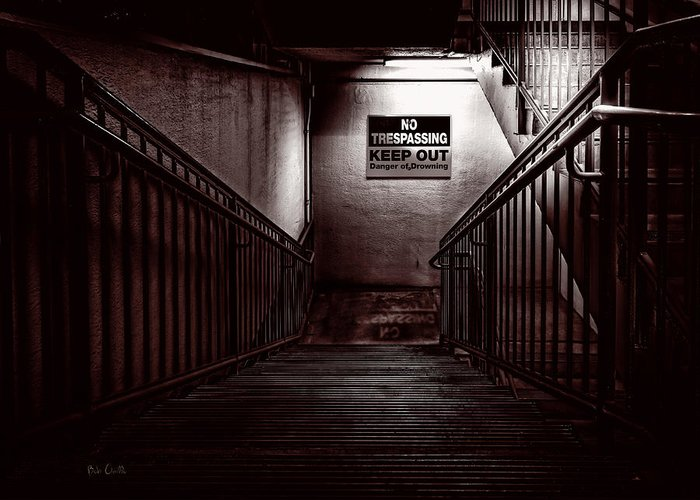 Night Greeting Card featuring the photograph Keep Out Danger Of Drowning by Bob Orsillo