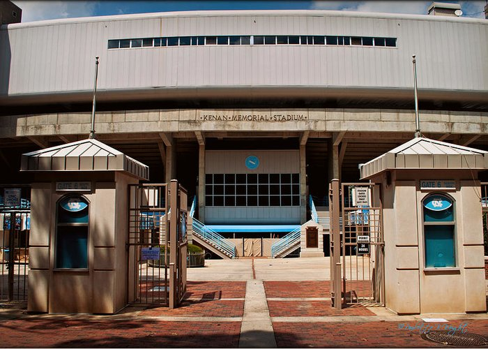 Art Greeting Card featuring the photograph Kenan Memorial Stadium - Gate 6 by Paulette B Wright