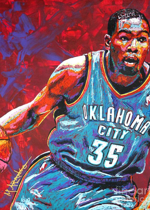Kevin Greeting Card featuring the painting Kevin Durant 2 by Maria Arango