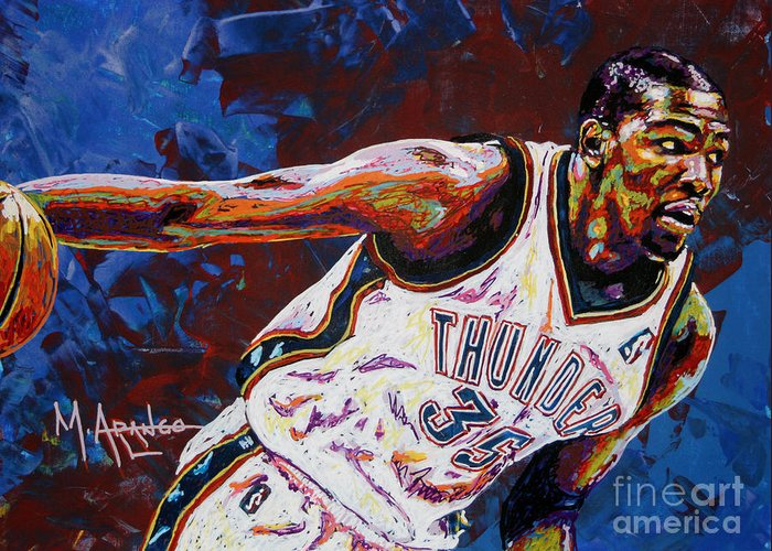 Kevin Greeting Card featuring the painting Kevin Durant by Maria Arango