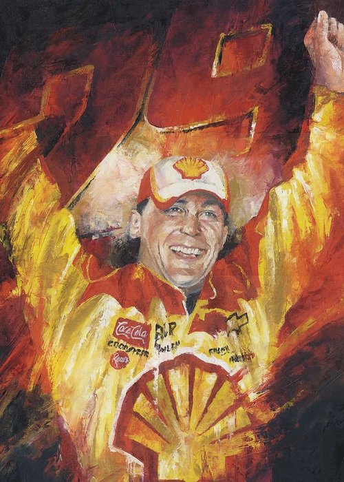 Nascar Greeting Card featuring the painting Kevin Harvick by Christiaan Bekker