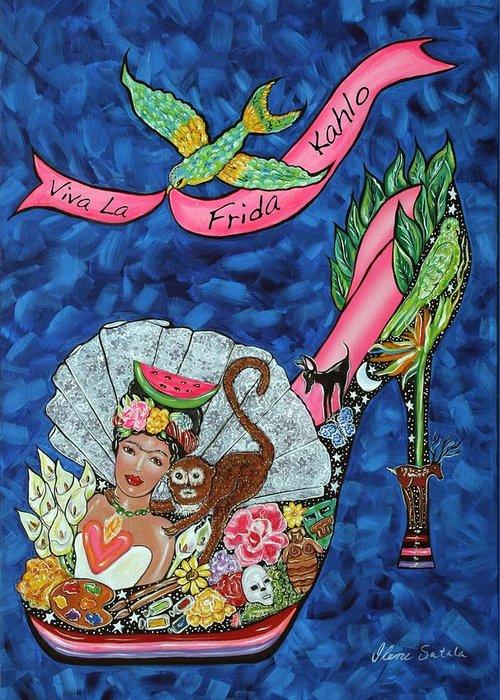 Frida Kahlo Greeting Card featuring the painting Kick Up Your Heels Frida by Ilene Satala
