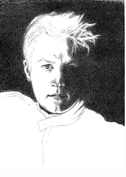 Formula 1 Portrait Greeting Card featuring the drawing Kimmi Raikkonen by Diane Fine