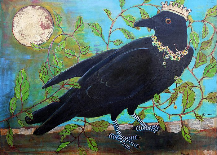 Paintings Greeting Card featuring the painting King Crow by Blenda Studio