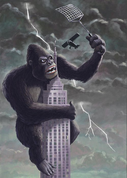 Kong Greeting Card featuring the painting King Kong Plane Swatter by Martin Davey