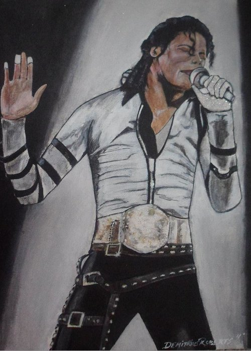 Mj Greeting Card featuring the painting King Of Pop by Demitrius Roberts