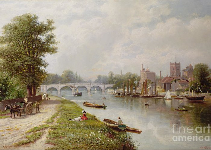 Bridge Greeting Card featuring the painting Kingston On Thames by Robert Finlay McIntyre