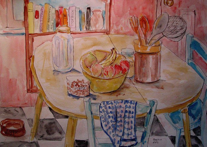 Still Life Greeting Card featuring the painting Kitchen In Nashville by Lucille Femine