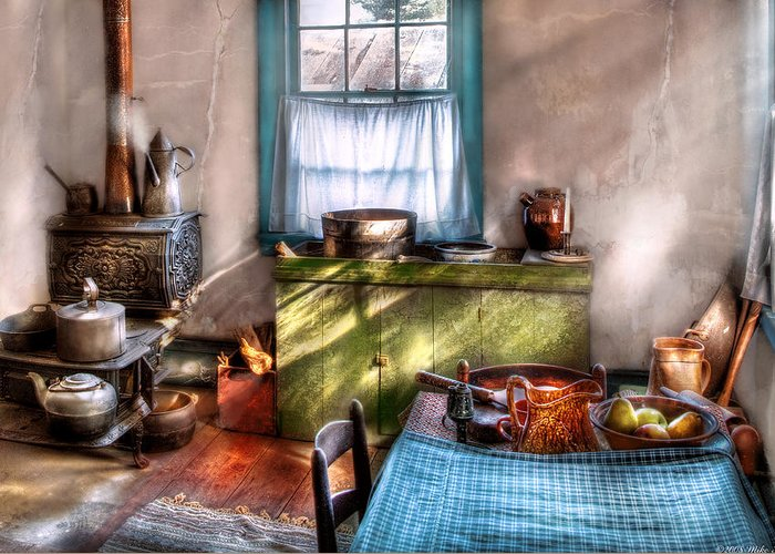 Savad Greeting Card featuring the photograph Kitchen - Old Fashioned Kitchen by Mike Savad