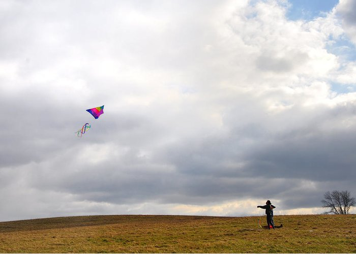 Kite Greeting Card featuring the photograph Kite Flying by Bill Cannon