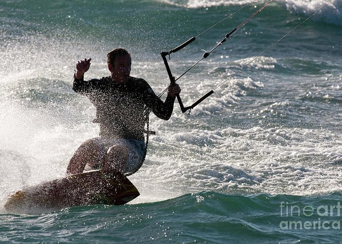 Australia Greeting Card featuring the photograph Kite Surfer 01 by Rick Piper Photography