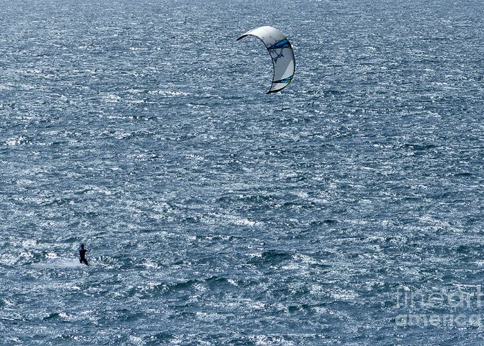 Sports Greeting Card featuring the photograph Kite Surfing by Brian Roscorla