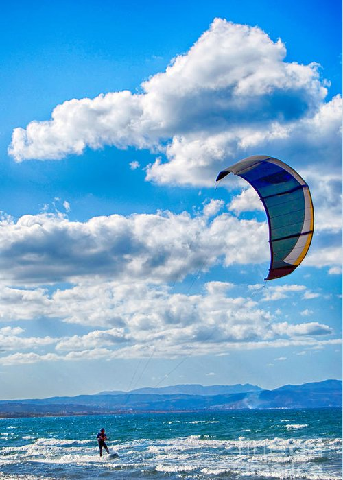 Kitesurfing Greeting Card featuring the photograph Kitesurfer by Antony McAulay